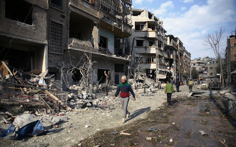 Uharibifu uliotokea Mashariki mwa  Ghouta, jijini Damascus nchini Syria