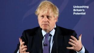 Thủ tướng Anh Boris Johnson tại trường Hải Quân tại Greenwich, Luân Đôn, ngày 03/02/2020.