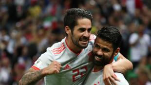Isco et Diego Costa lors de la rencontre face à l'Iran, le 20 juin 2018.