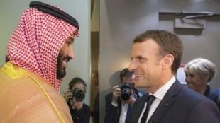 Mwanamfalme Mohammed bin Salman (kushoto) na Emmanuel Amcron walikutana Riyadh.