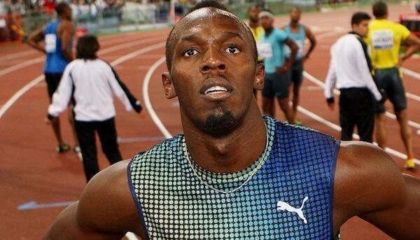 Mshindi wa medali tatu za dhahabu kwenye Olimpiki Usain Bolt akishangaa baada ya kushindwa kwenye Mashindano ya Rome na Justin Gatlin