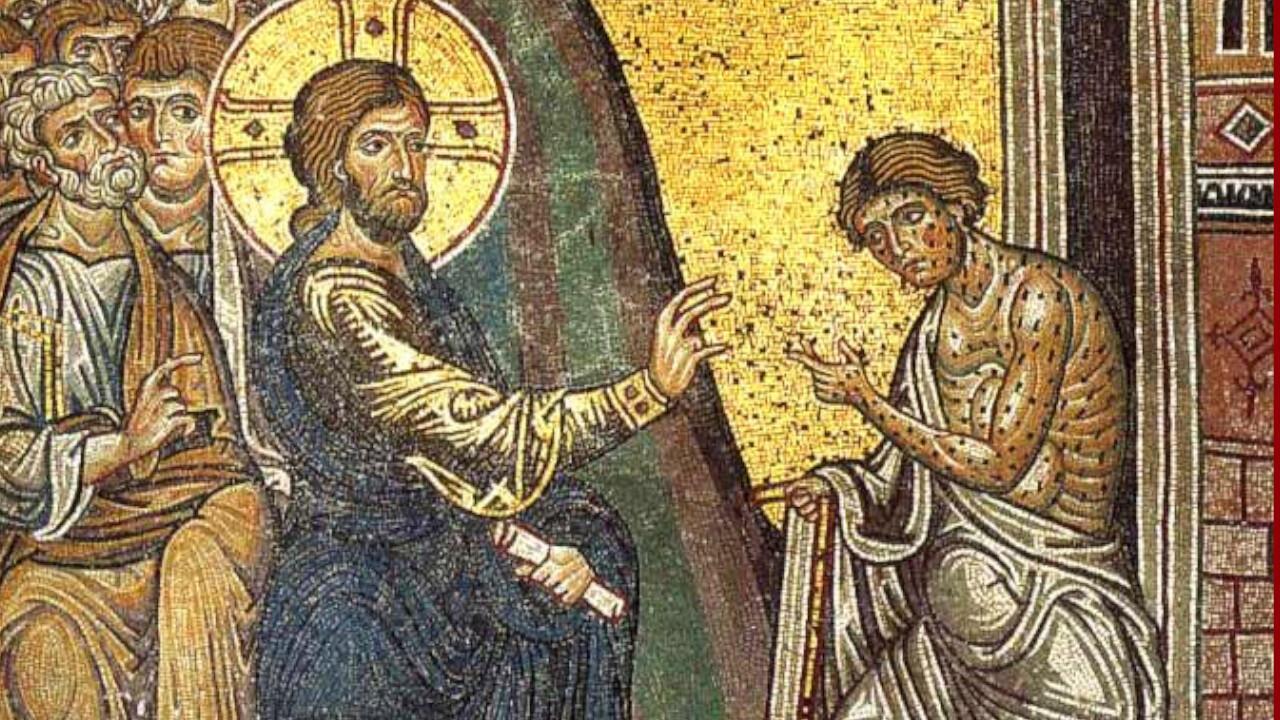 Mosaïque médiévale où l'on voit Jésus guérir un lépreux.  (Cathédrale de Monreale en Sicile)