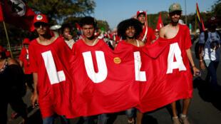 Des manifestants pro-Lula, lors d'une marche «Lula libre» à Brasilia, le 14 août 2018.
