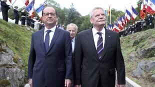 Francois Hollande and Joachim Gauck at National Monument of Hartmannswillerkopf in Wattwiller, eastern France. 3 August 2014.