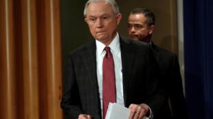 Le ministre de la Justice Jeff Sessions à Washington le 2 mars 2017, en amont d'une conférence de presse.