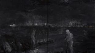 Yan Pei-Ming, « Pandémie », 2020, diptyque, huile sur toile, 400 x 560 cm. © Clérin-Morin - Yan Pei-Ming, ADAGP, Paris, 2021.