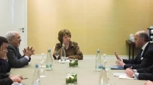 دیدار سه جانبه کاترین اشتون لوران فابیوس- وزیر خارجه فرانسه و محمد جواد ظریف