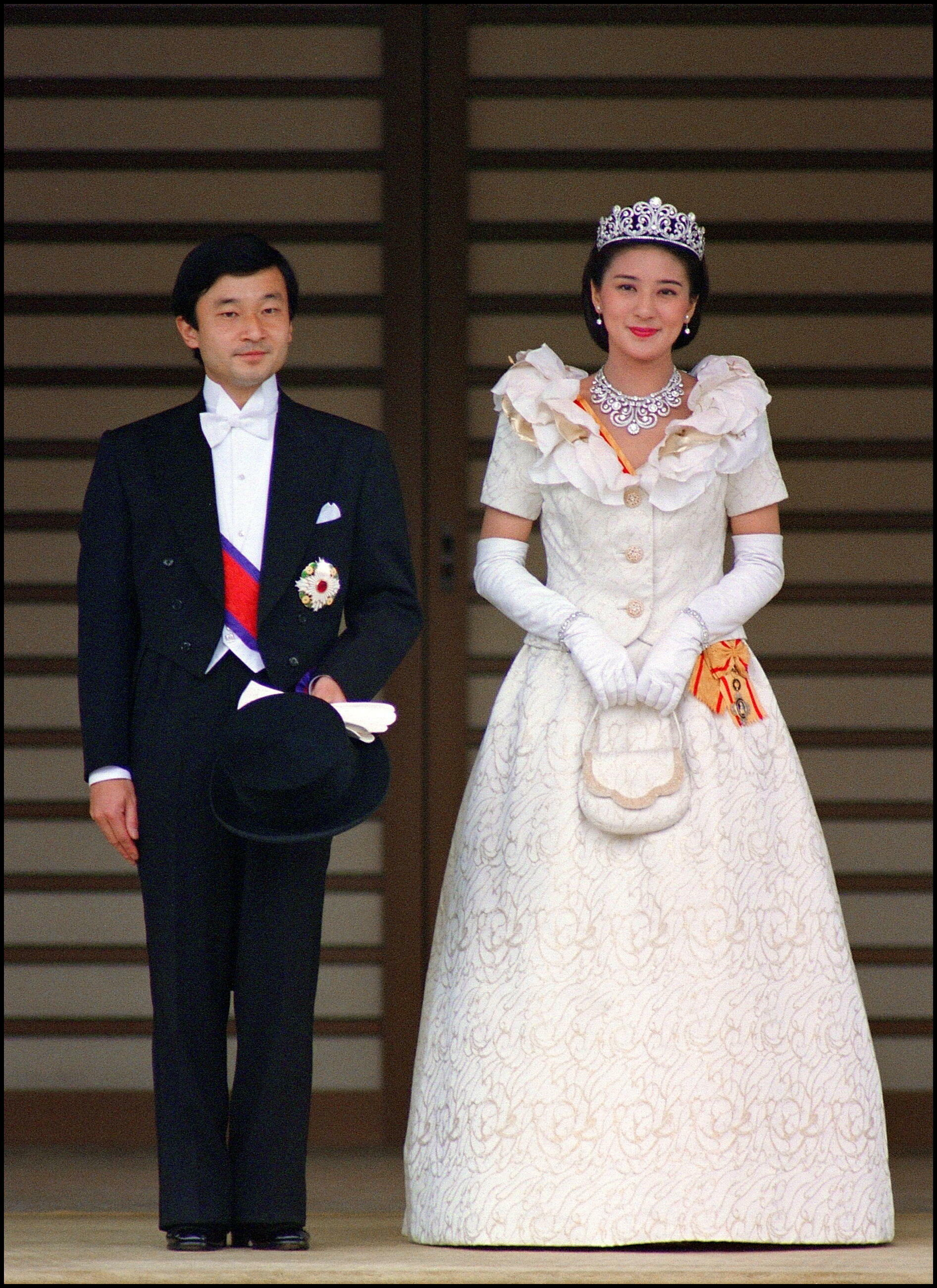 L'empereur nippon Naruhito, alors prince de Japon, lors de son mariage avec la princesse Masako, le 9 juin 1993.