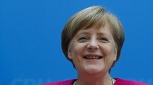 La canciller alemana Angela Merkel durante una conferencia de prensa en Berlín, Alemania, el 15 de mayo de 2017.