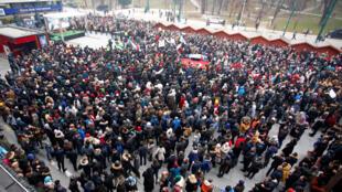 Rassemblement à Sarajevo en soutien aux habitants d'Alep, le 14 décembre 2016.