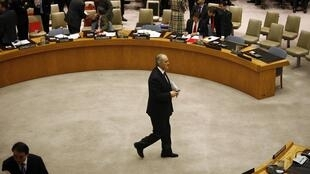 Syrian Ambassador to the United Nations Bashar Jaafari during the UN Security Council meeting