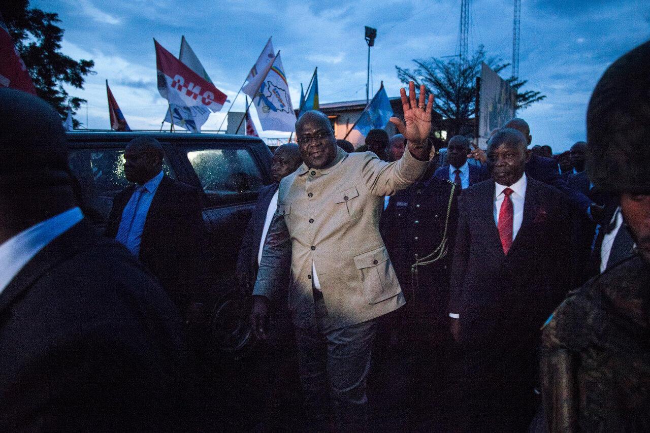 Le président congolais Félix Tshisekedi, aux côtés de Vital Kamehre, photographiés lors d'un déplacement à Goma, au Nord-Kivu, le 14 avril 2019.