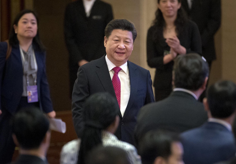 Chủ tịch Trung Quốc Tập Cận Bình lúc đến khai trương ngân hàng AIIB, tại Bắc Kinh ngày 16/01/2016.