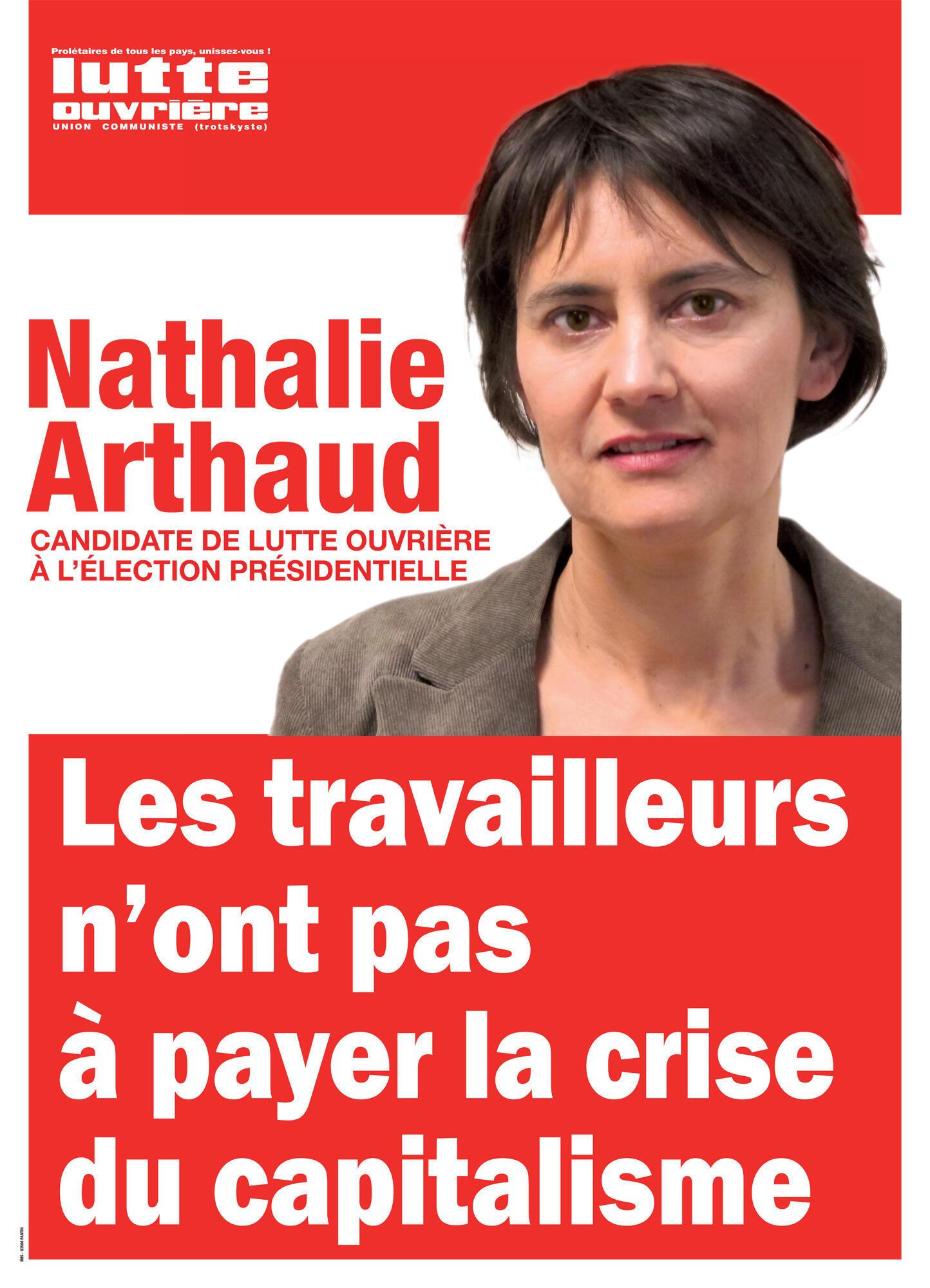 Afiche de campaña de Nathalie Arthaud.