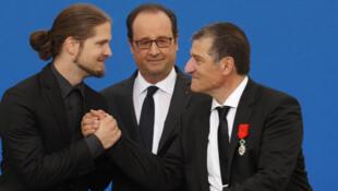 Франсуа Олланд, Мишель Каталано и Лилиан Лепер в сентябре 2016.