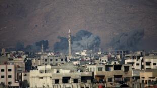 Bombardement aérien sur Harasta, le 30 décembre 2017.