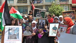 Rally in support of Palestinian prisoners holding a hunger strike in Israeli prisons