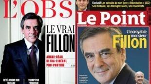 O candidato nas primárias da direita francesa, François Fillon, é capa das revistas semanarias L'OBS e Le Point.