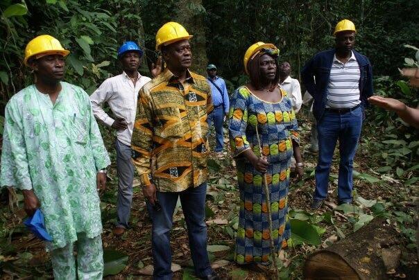 Dans la forêt en République du Congo, Wangari Maathai sur le terrain.