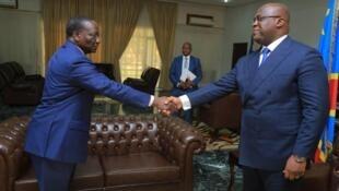 Rais Felix Tshisekedi (kulia) Na Waziri Mkuu mpya Sylvester Ilunga Ilunkamba.