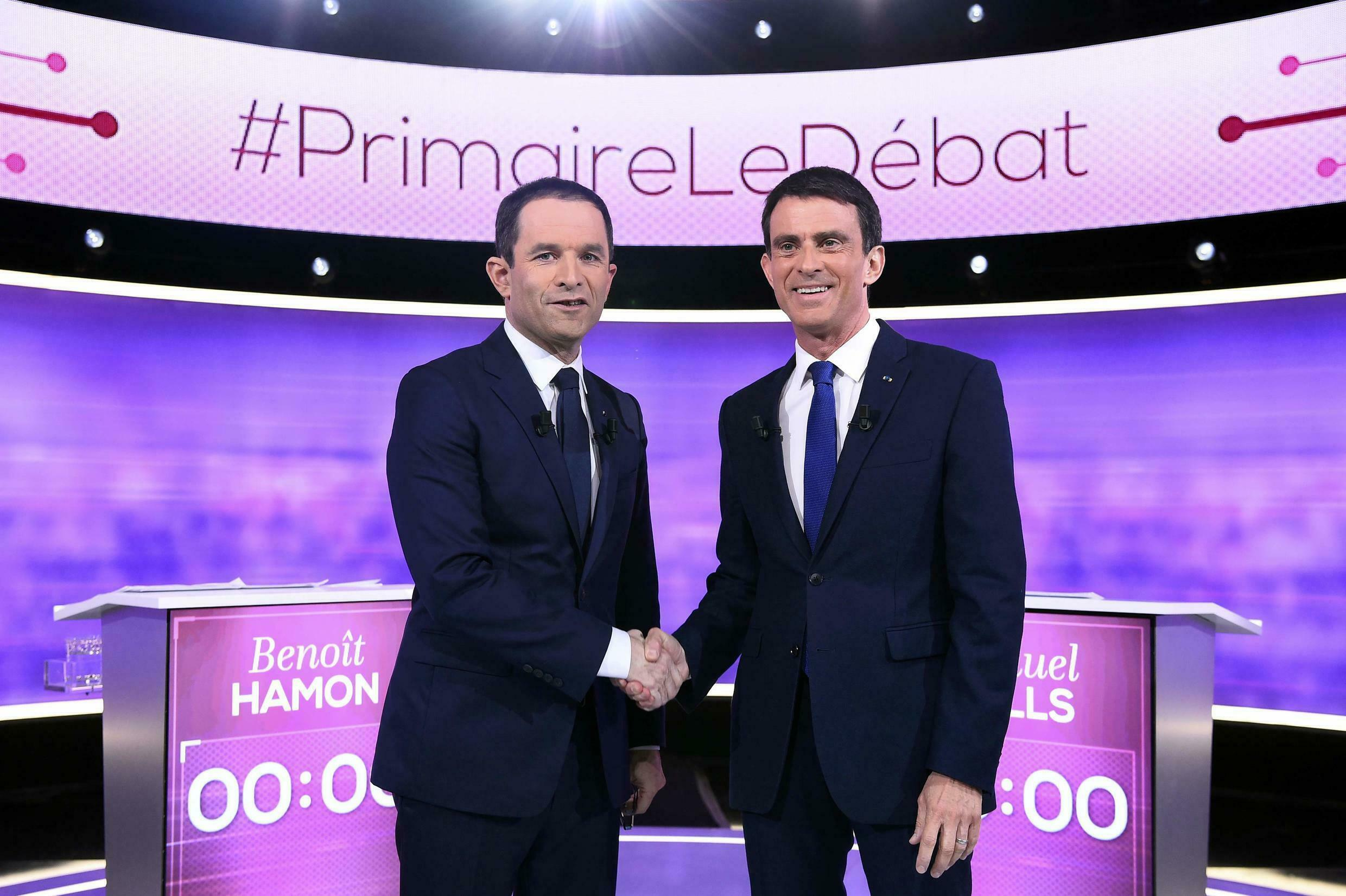 Benoît Hamon, left and Manuel Valls, right at the last debate before the second and final round of the Socialist primary.