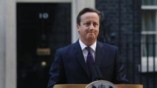 David Cameron, desde el 10, Downing Street tras el anuncio de los resultados del referendo, el 18 de septiembre de 2014.