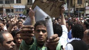 Manifestantes en la plaza Tahrir de El Cairo el viernes 8 de abril