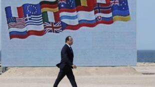 Le président François Hollande lors de la cérémonie à Oustreham, le 6 juin 2014.