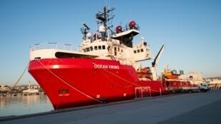 O navio Ocean Viking aqui em Marselha, em França, a 4 de agosto de 2019.