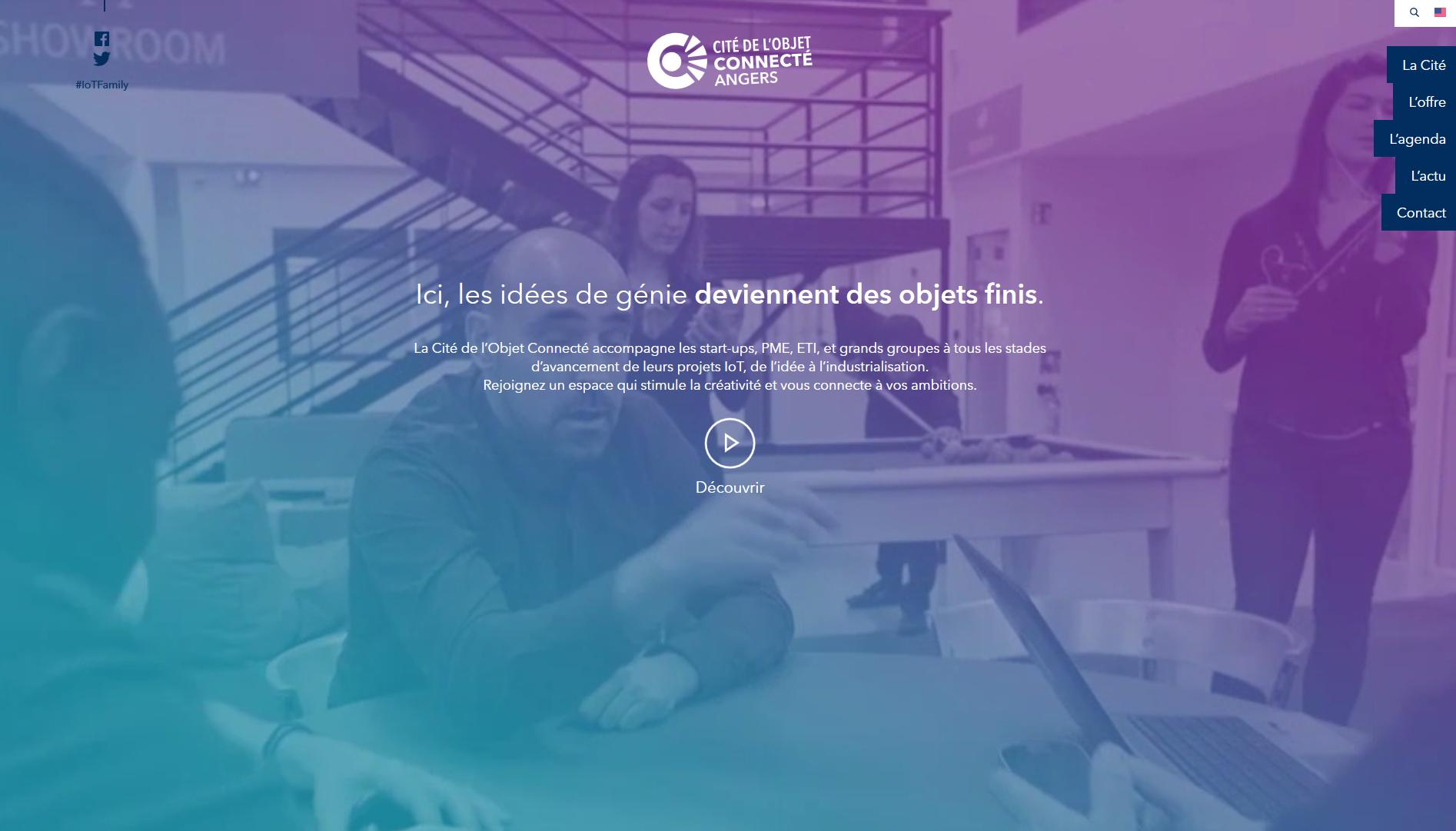 Capture d'écran du site internet de la Cité de l'objet connecté.