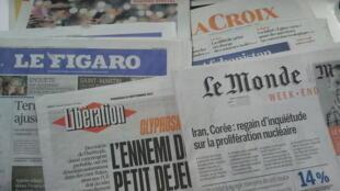 Primeiras páginas dos jornais franceses de 15 de setembro de 2017