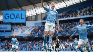 De Bruyne double: Kevin De Bruyne became just the third player to win the PFA player of the year award in two consecutive seasons