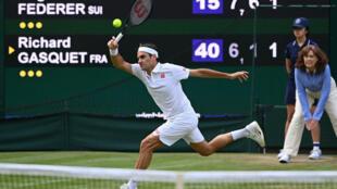 Golden oldie: Roger Federer in action against Richard Gasquet