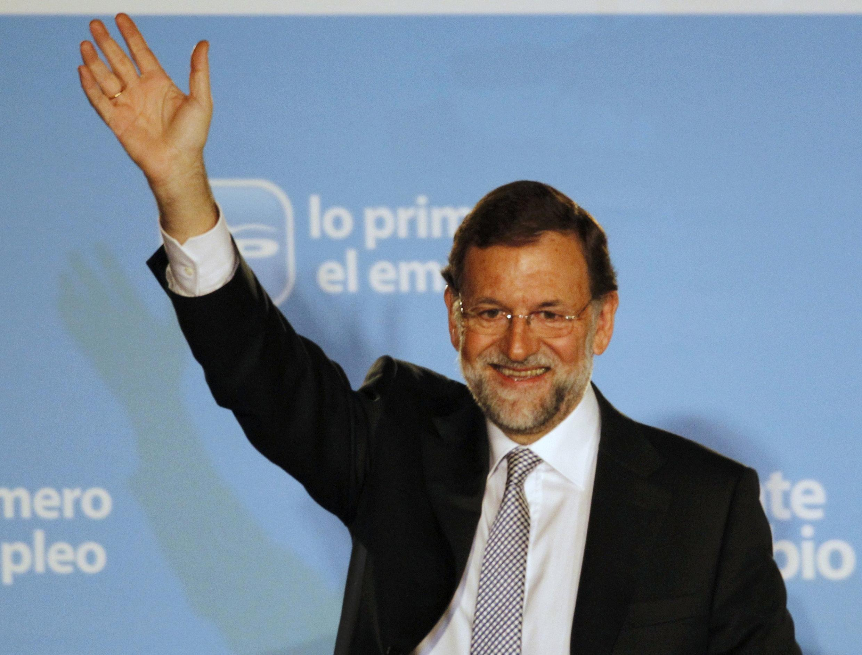 Лидер правой Народной партии Мариано Рахой - будущий премьер-министр Испании. Мадрид, 20 ноября 2011