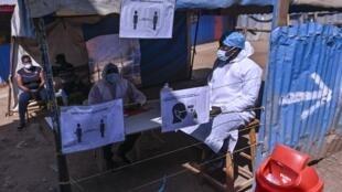 Centre de test contre le coronavirus au Kenya.