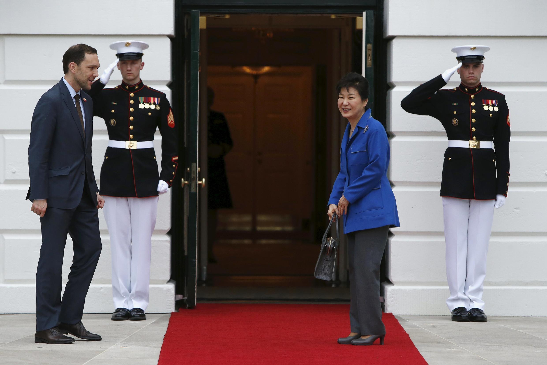 Tổng thống Hàn Quốc Park Geun Hye đến dự thượng đỉnh an ninh nguyên tử tại Washington, 31/03/2016.
