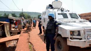 Des casques bleus rwandais de la Minusca, en mai 2019, à Bangui, en République centrafricaine.
