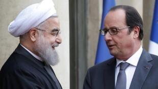 Президент Ирана Хасан Рухани (слева) и президент Франции Франсуа Олланд, Париж, 28 января 2016.