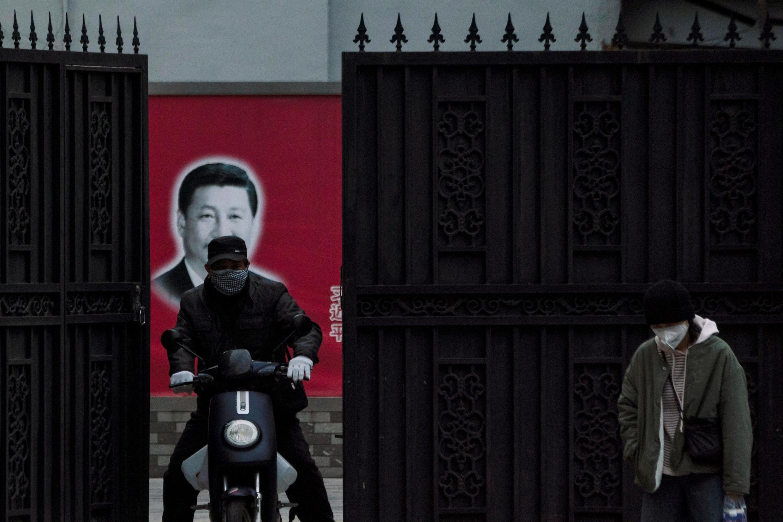 Chân dung chủ tịch Trung Quốc Tập Cận Bình trên đường phố Thượng Hải, ngày 10/02/2020.