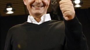 Jose Luis Rodriguez Zapatero lors du dernier meeting politique de Madrid avant les élections locales du 22 mai 2011