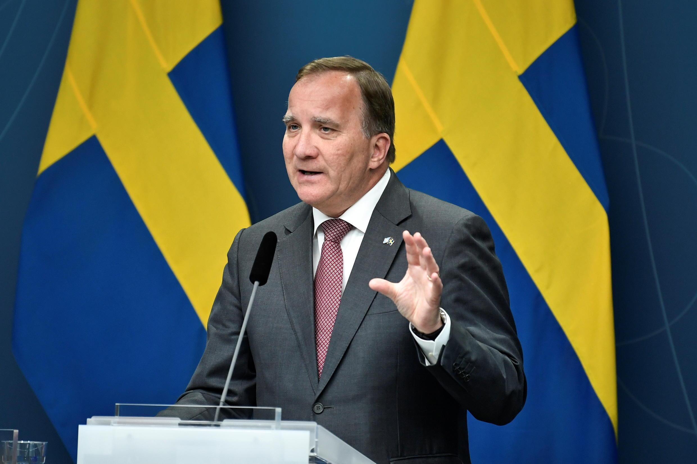 Le Premier ministre suédois Stefan Löfven lors d'une conférence de presse à Rosenbad, alors qu'un vote de défiance se profile, à Stockholm, le 17 juin 2021.