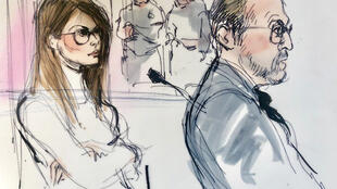 Tranh phác họa nữ diễn viên Lori Loughlin trong phiên điều trần tại tòa Los Angeles về nghi án hối lộ để hai cô con gái được nhận vào đại học danh tiếng, ngày 13/03/2019.
