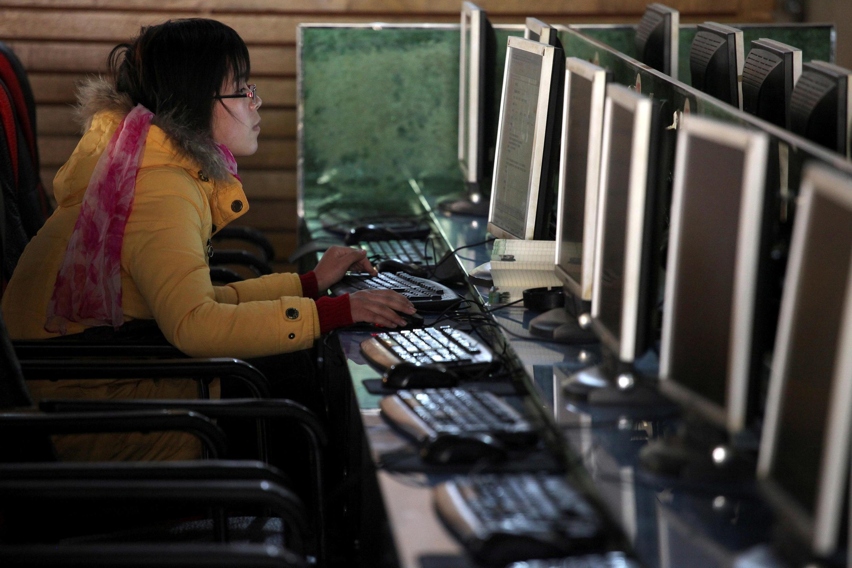cybercafé de Xanghai, na China.