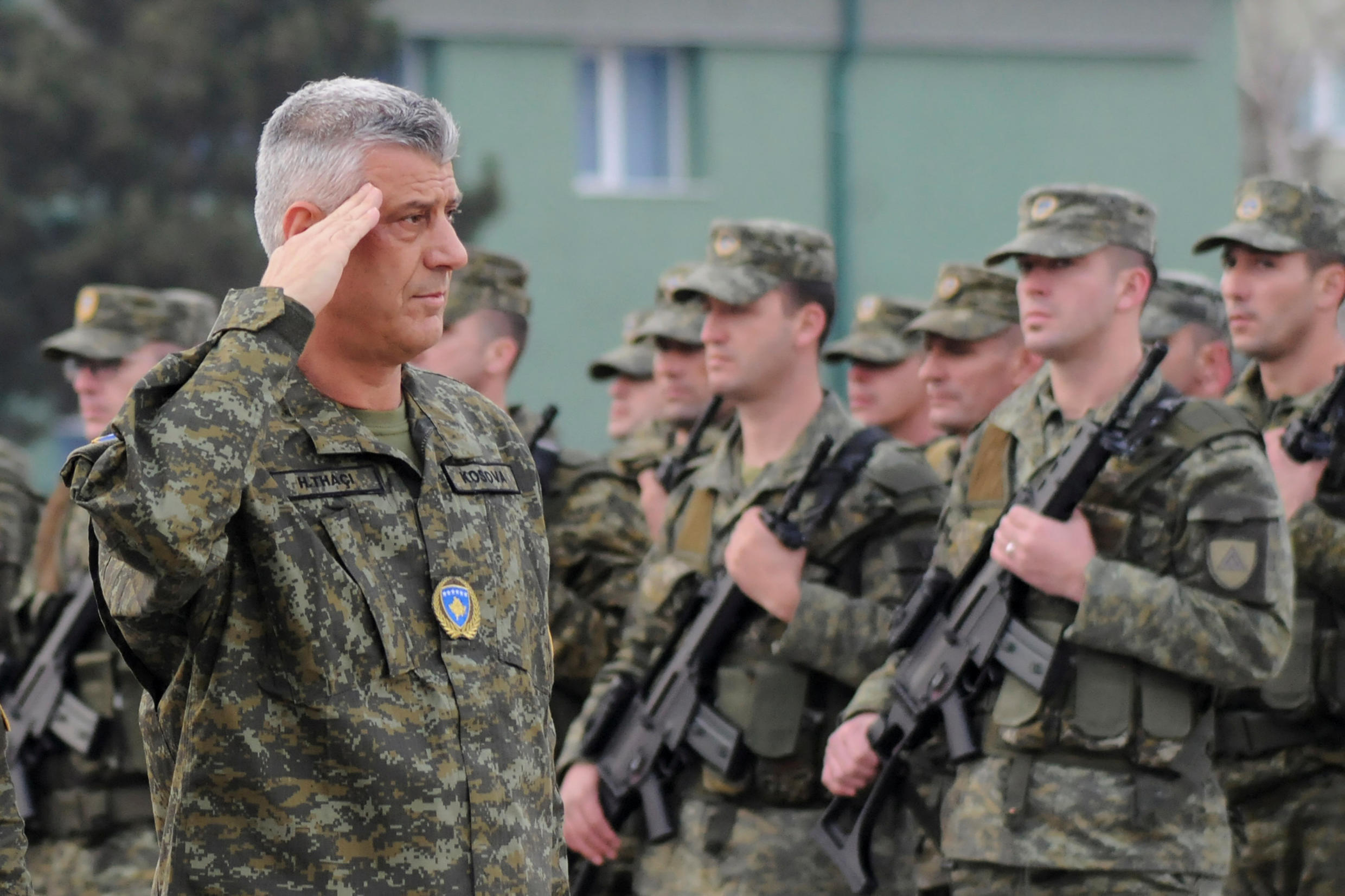 Kosovar president Hashim Thaci inspects security forces