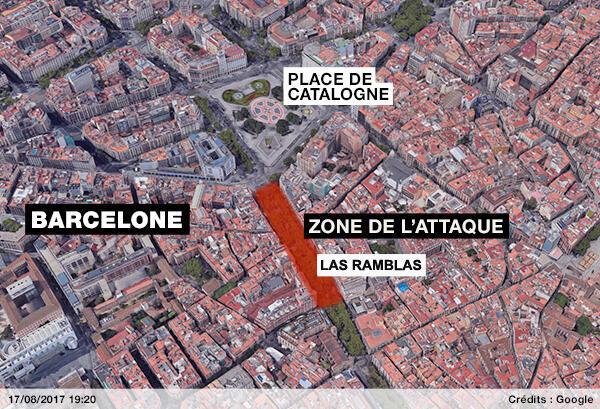 Le lieu de l'attaque a eu lieu à Las Ramblas, l'avenue la plus touristique de Barcelone.
