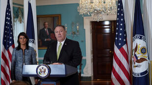 Госсекретарь США Майк Помпео и постпред США при ООН Никки Хейли, 19 июня 2018.