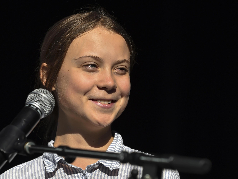 圖為瑞典環保少女桑柏格(Greta Thunberg)2019年10月27日加拿大蒙特利爾照片