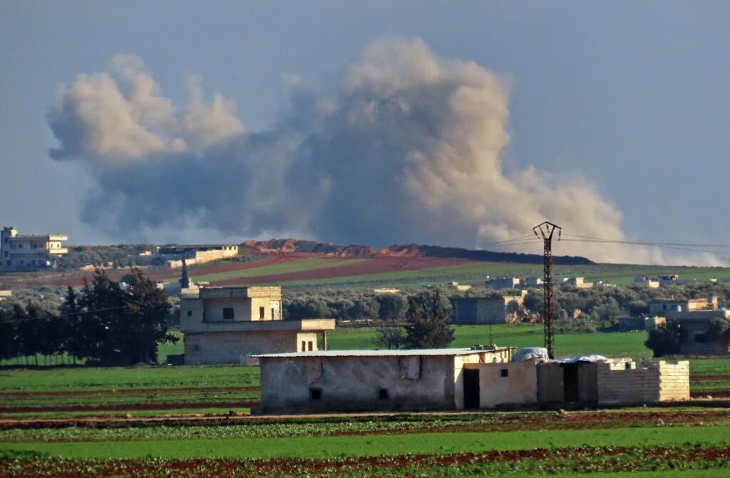 """A cidade de Saraqeb,de agora em diante sob o controlo das  forças Sírias, segundo a organização """"Observatório Sírio para os Direitos Humanos""""."""