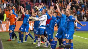 L'Islande gagne le match éliminatoire contre les Pays-Bas (0-1) de l'Euro 2016, le 3 septembre 2015.