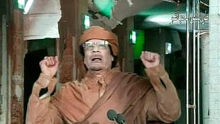 Kadhafi during his previous TV address